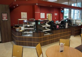Bespoke counter with granite worktop and wood effect laminate frontage with strip detail