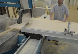 New panel saw with joiner beginning to cut material