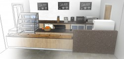 Bespoke counter with Corian worktop and passover section, wood effect laminate frontage with oak impulse crate style boxes, image shows sketch changing into render
