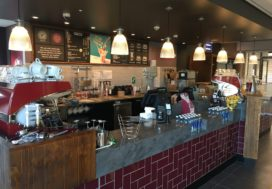 Costa Coffee counter with Corian worktops and tiled fronts as part of hospital works
